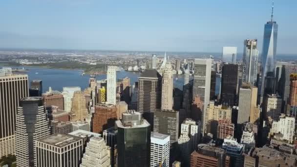 letecký pohled na Manhattan v centru města s kancelářskými buindings v New Yorku Americe na břehu východní řeky za slunečného dne