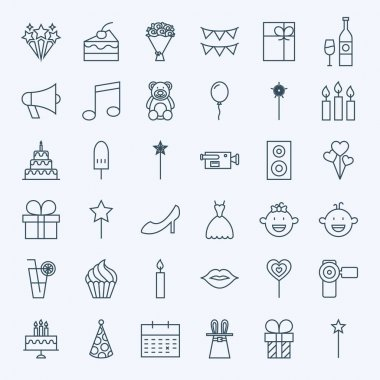Line Birthday Celebration Icons