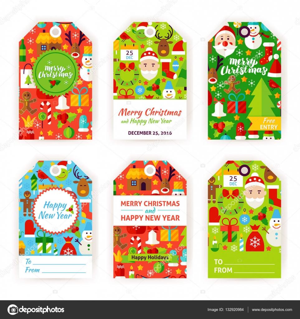 Frohe Weihnachten Geschenk Tag Etiketten — Stockvektor © Anna_leni ...
