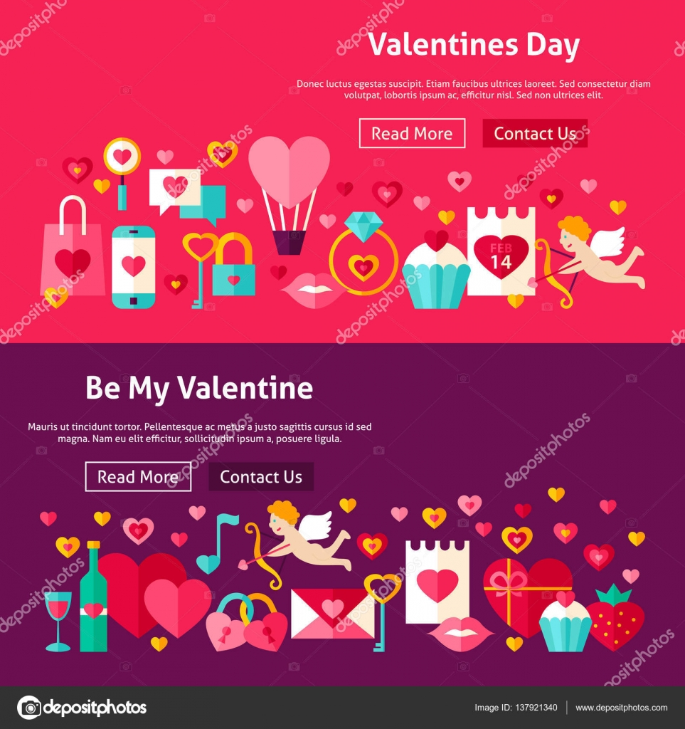 Happy Valentines Day Website Banners Stock Vector C Anna Leni