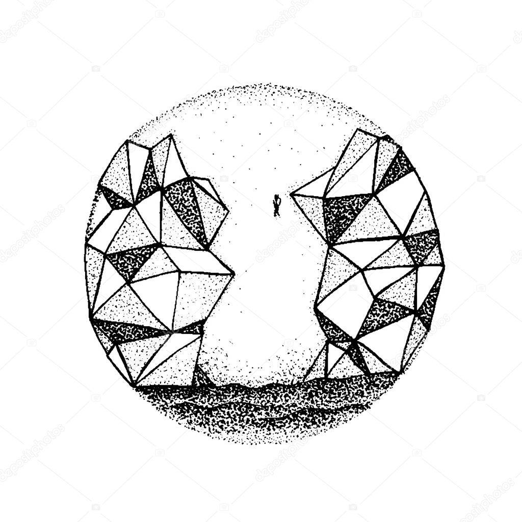 Dotwork Polygonal Rock Mountain
