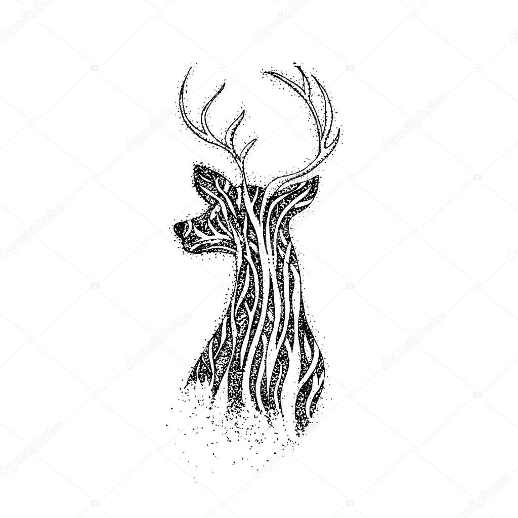 Dotwork Tree Reindeer
