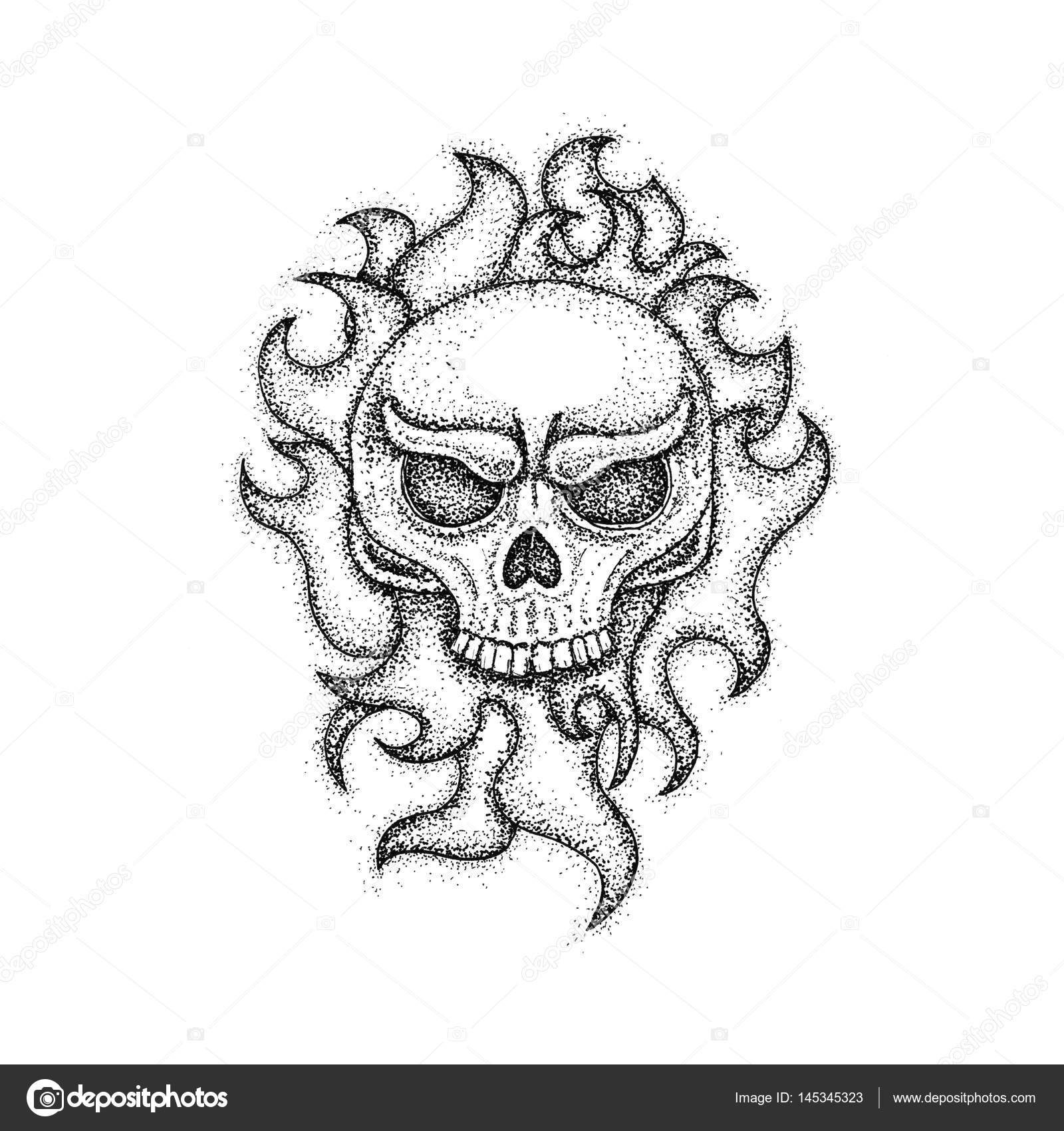 Human Skull With Fire Dotwork Stock Photo