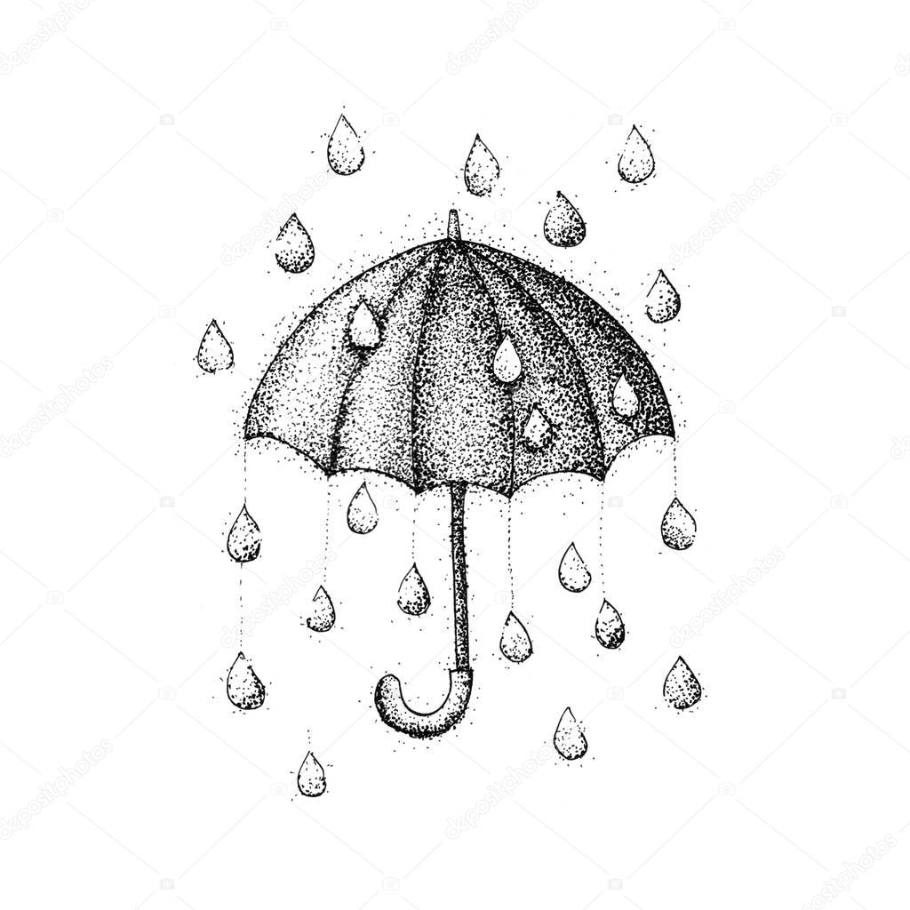 Umbrella Rain Dotwork