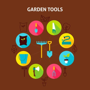 Concept Garden Tools. Vector Illustration of Spring Nature Infographics Circle with Flat Icons. icon