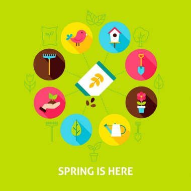 Concept Spring is Here. Vector Illustration of Nature Garden Infographics Circle with Flat Icons. icon
