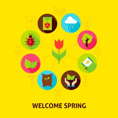 Welcome Spring Concept. Vector Illustration of Nature Garden Infographics Circle with Flat Icons. icon
