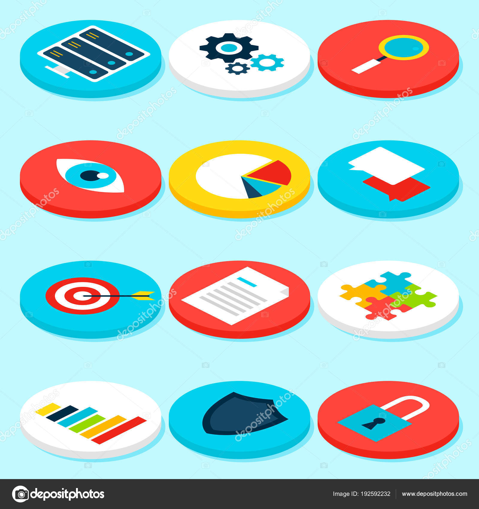 Big Data Analytics Isometric Icons Stock Vector Annaleni 192592232