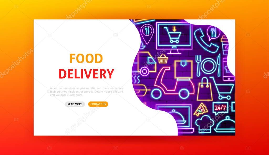 Food Delivery Neon Landing Page Vector Illustration Of Online Order Promotion Premium Vector In Adobe Illustrator Ai Ai Format Encapsulated Postscript Eps Eps Format