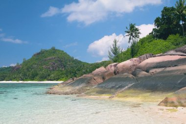 Gulf and basalt educations in tropics. Baie Lazare, Mahe, Seychelles