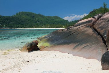 Coast of tropical island. Baie Lazare, Mahe, Seychelles
