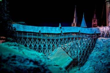 London, England, April 2017: A giant pendulum at Warner Brothers Harry Potter Studio Tour