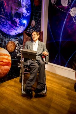 London, England, April 2017: Stephen Hawking wax figure in Madame Tussaud museum