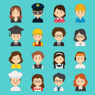 Set Of 16 Great Variety Workers Avatars icon