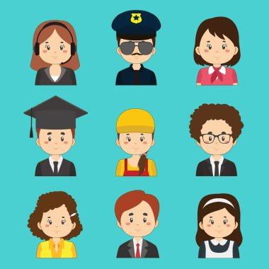 Set Of Great Variety Workers Avatars icon