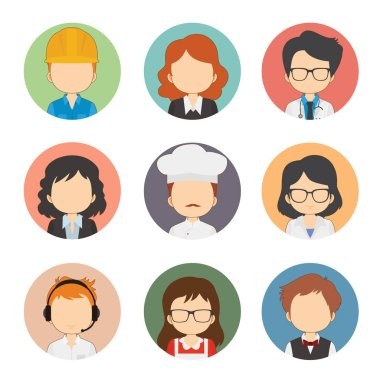 Set Of Great Variety Workers Flat Avatars icon