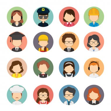 Set Of 16 Great Variety Workers Flat Avatars icon