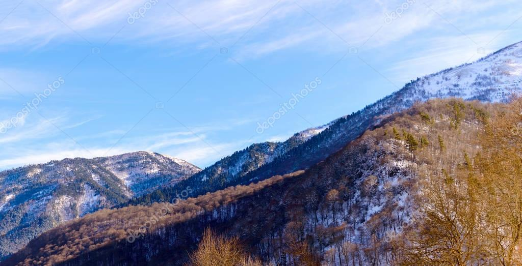 Winter mountain landscape with rocks and snow