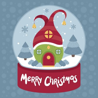 Merry Christmas Vector illustration. House in Snow globe.