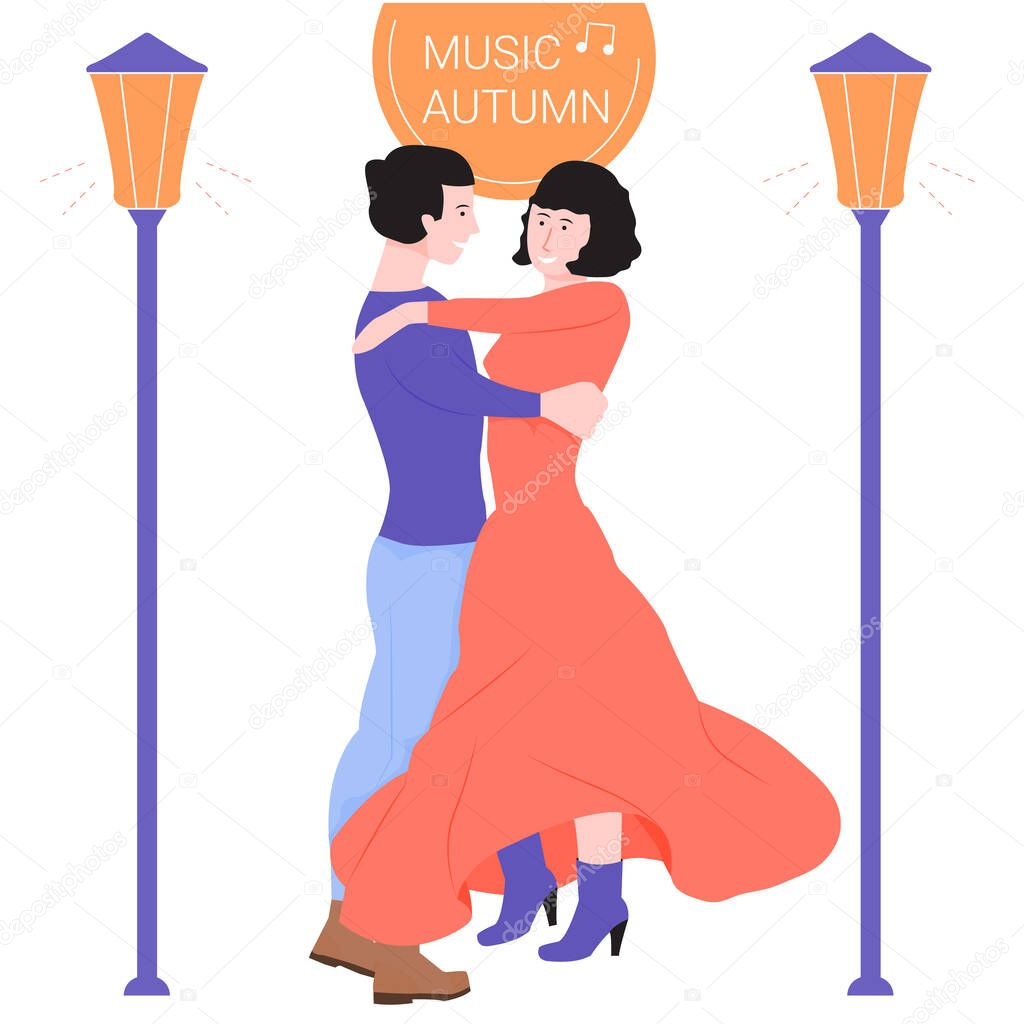 Young couple is dancing in a dance. Lights are shining nearby. Autumn evening, nice melody. Brunette girl, developing a dress, around autumn leaves. Illustration for festivals or dance courses. stock vector