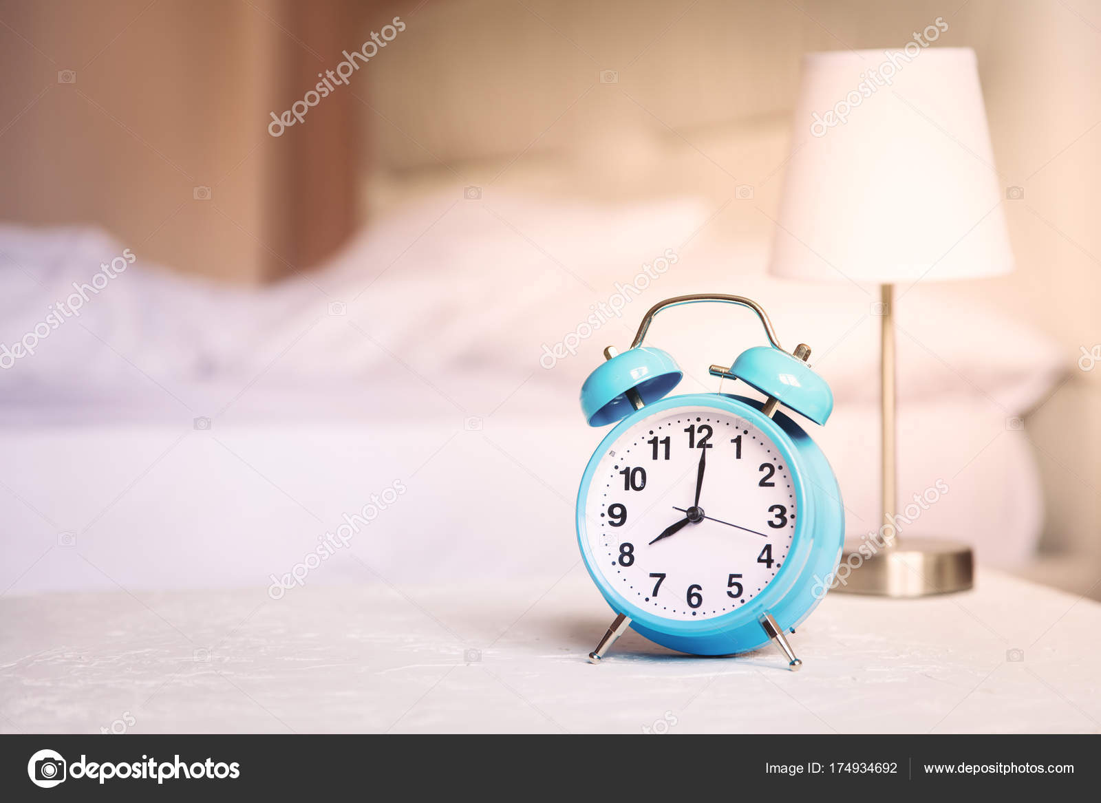 Morning alarm clock, bedroom interior,healthy life border ...