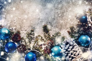 Christmas background, Ever green Fir branches,toys,decoration,pi