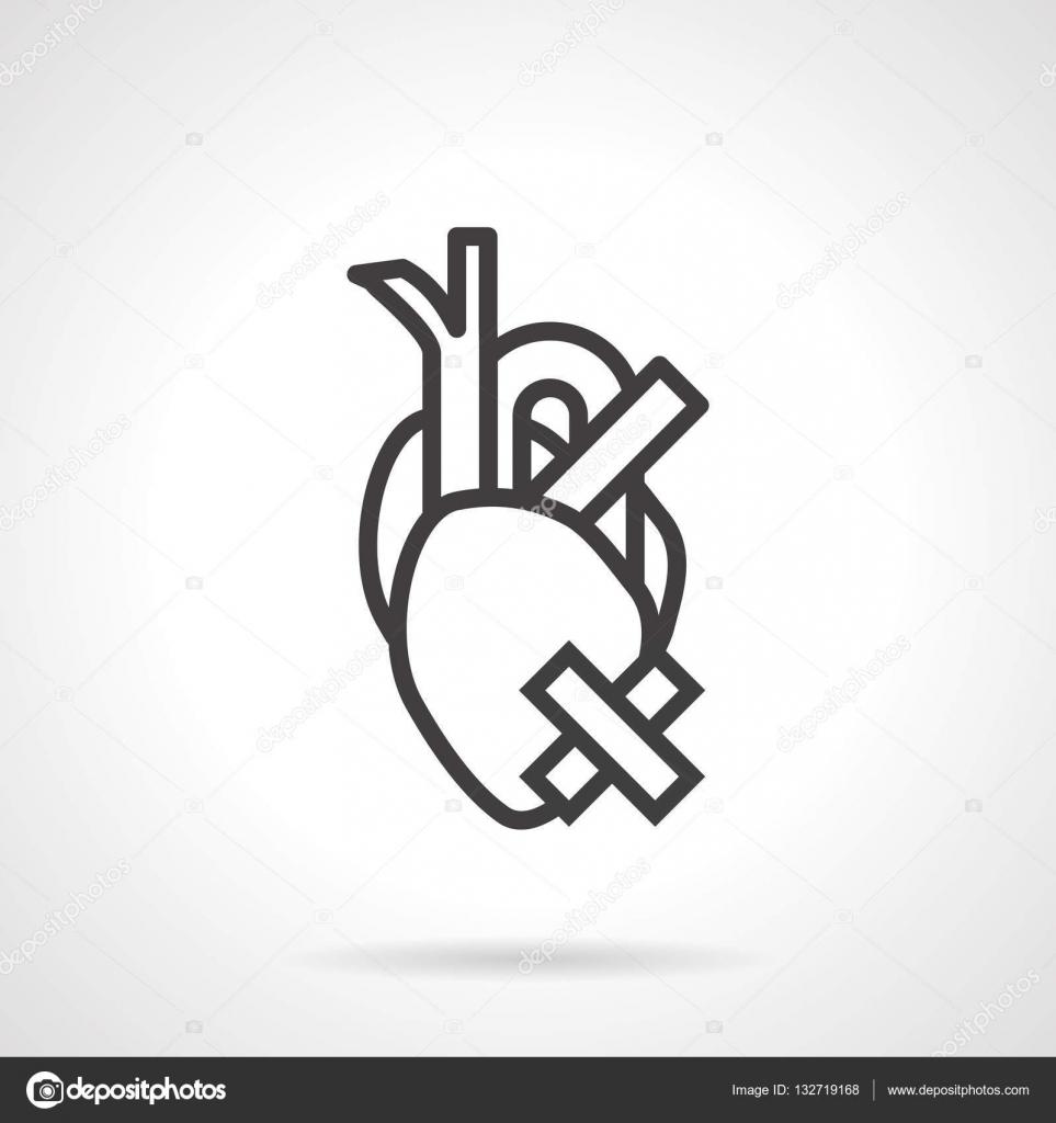 Serce Zdrowie Problem Prosty Wiersz Wektor Ikona Grafika
