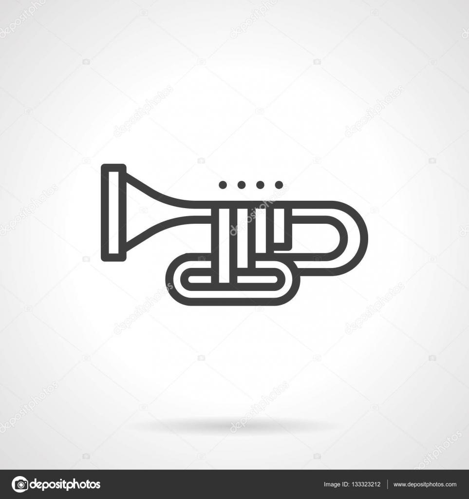 Orkiestrowe Puzon Prosty Wiersz Wektor Ikona Grafika