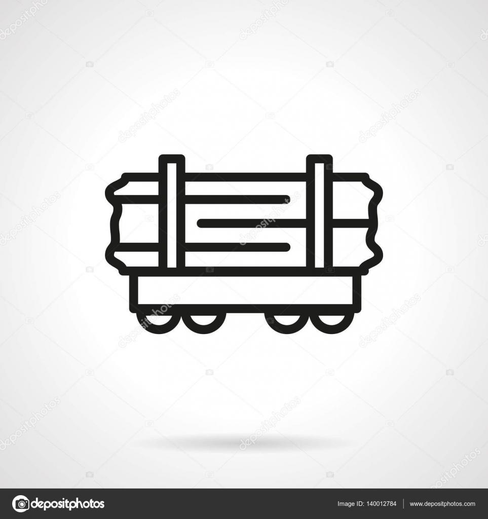 Wood rail-car simple line vector icon — Stock Vector