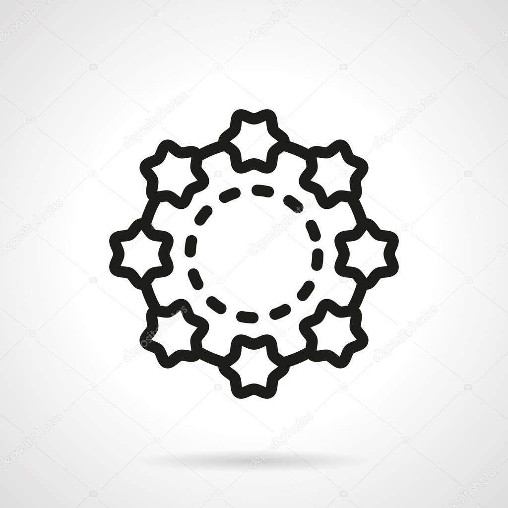 Shell beads simple line vector icon