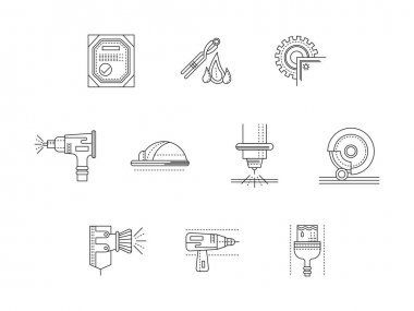 Metalworking flat line vector icons set