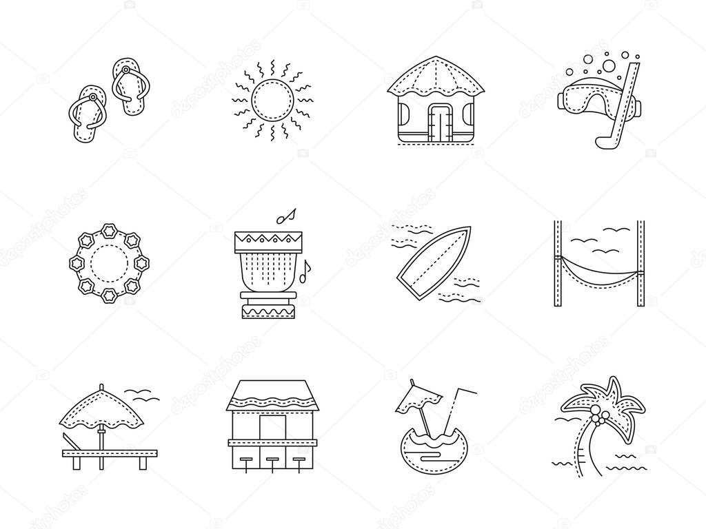 Hawaii resort flat line vector icons set