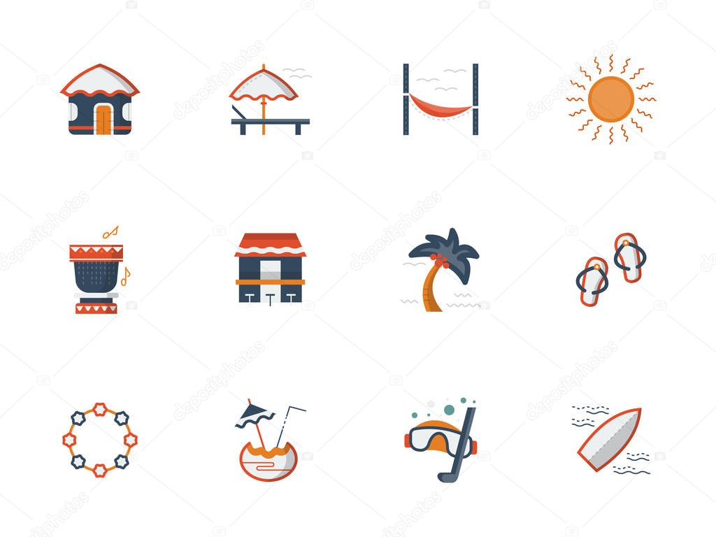 Hawaii beach flat color vector icons set