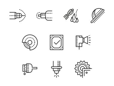 Metalworking equipment black line vector icons set