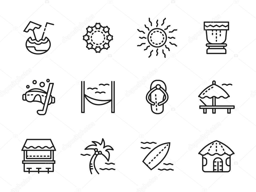 Beach leisure black line vector icons set