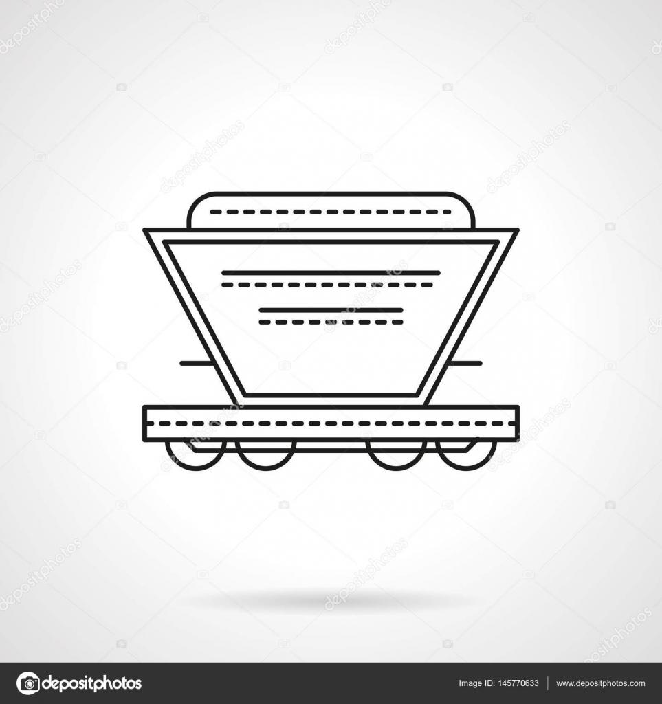 Bulk-Ladungen Waggon flache Linie Vektor icon — Stockvektor ...