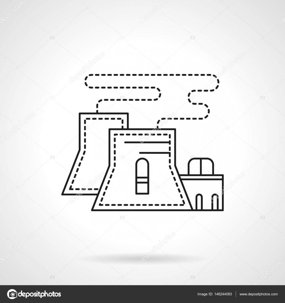 Nuclear Power Plant Flache Linie Vektor Icon Stockvektor Line Diagram Abstrakte Kernkraftwerk Oder Station Industrie Symbol Industriearchitektur Schwarze Von Yershovoleksandr1