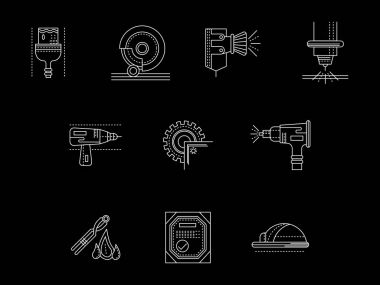 Metal processing flat white line vector icons set