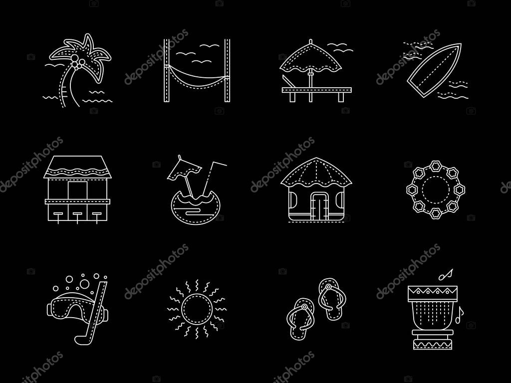 Hawaiian flat white line vector icons set