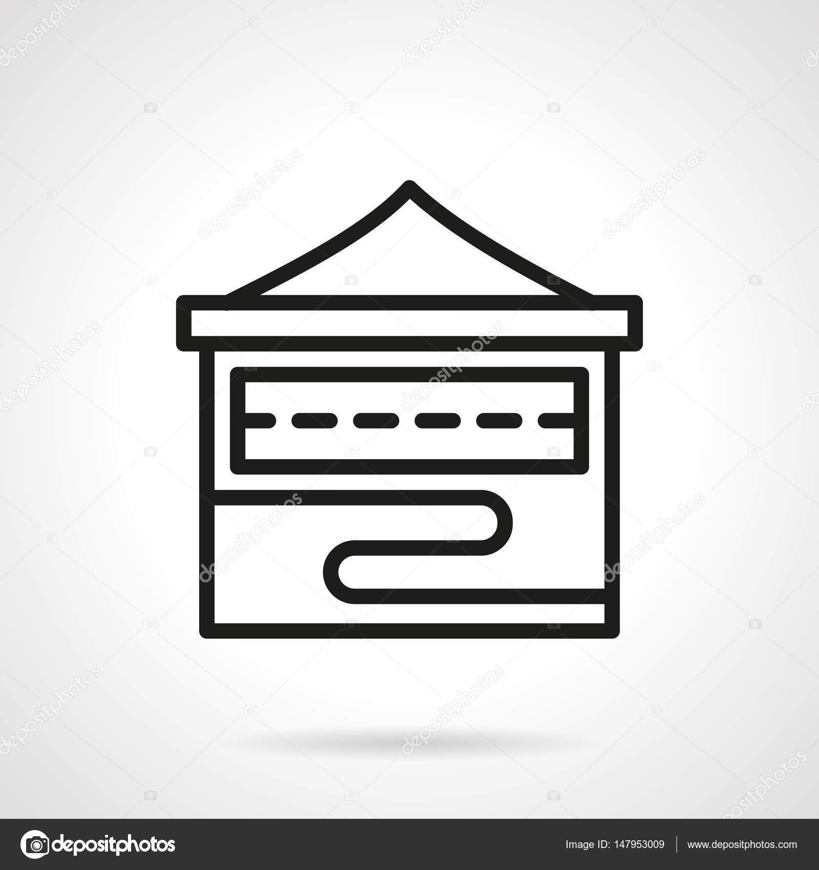 Folding Stall Simple Line Vector Icon Stock Vector