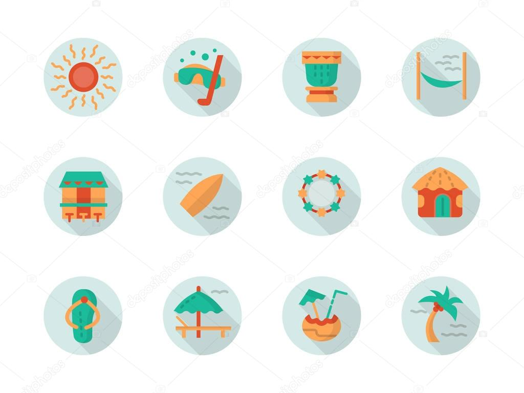 Tropical beach vacation round flat vector icons