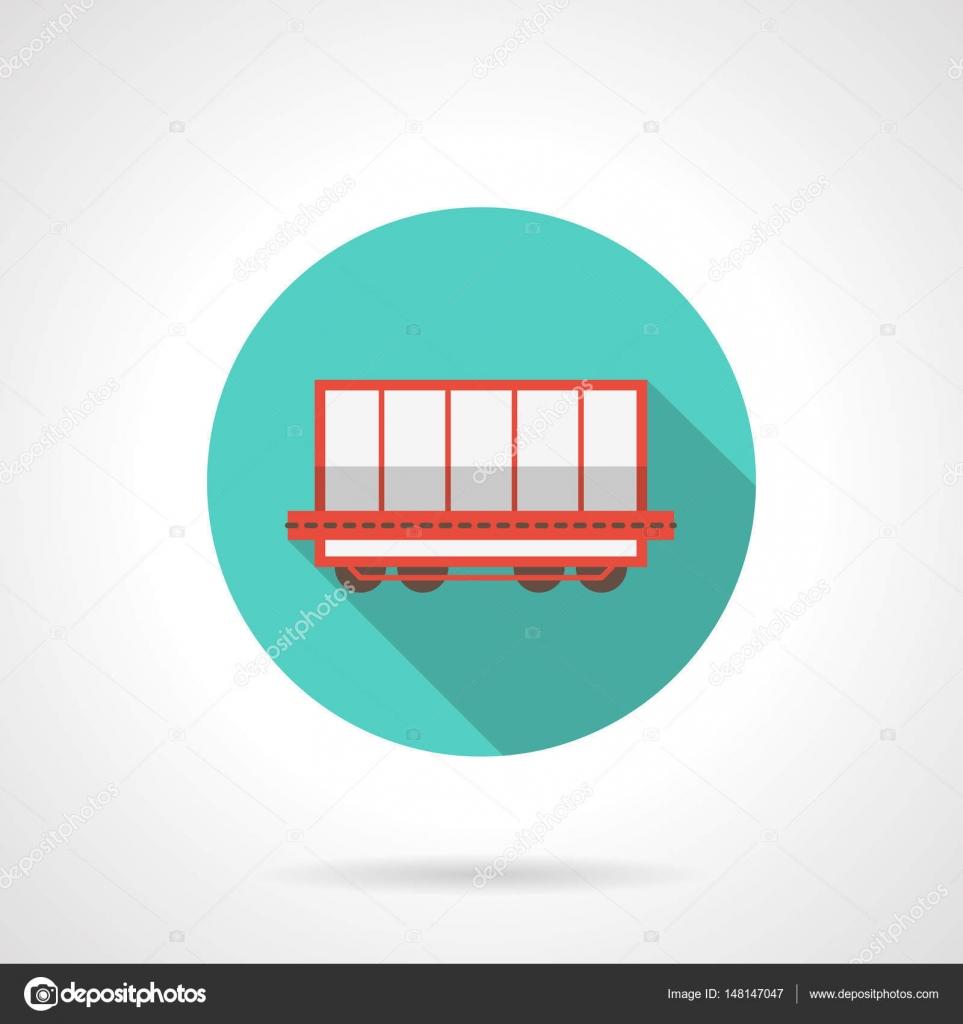 Open boxcar blue round vector icon — Stock Vector