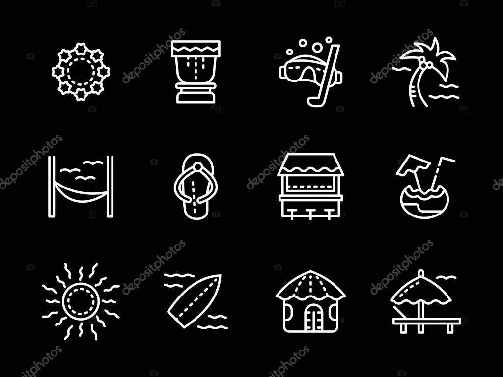 Hawaii white line vector icons set