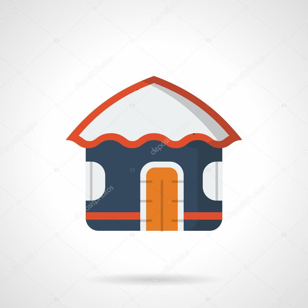 Sea vacations hut flat color vector icon