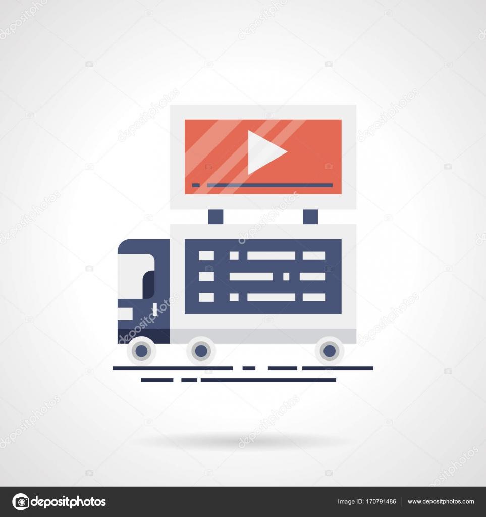 Video Ankündigung flache Farbe Vektor icon — Stockvektor ...