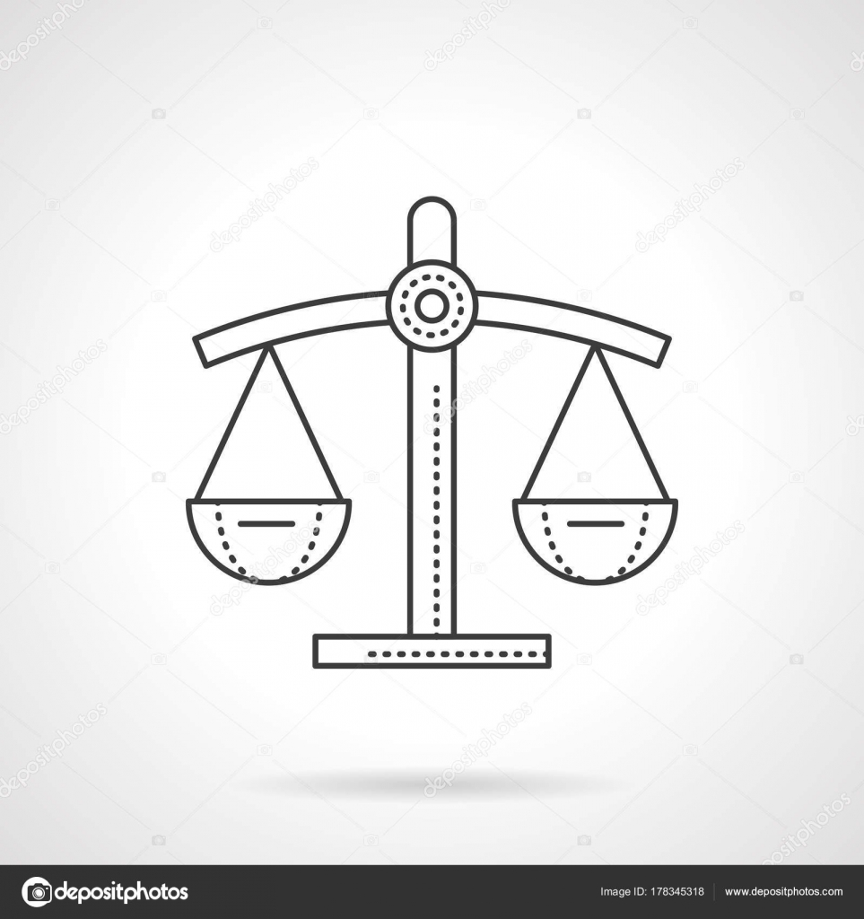 Scales Of Justice Flat Line Vector Icon Stock Vector