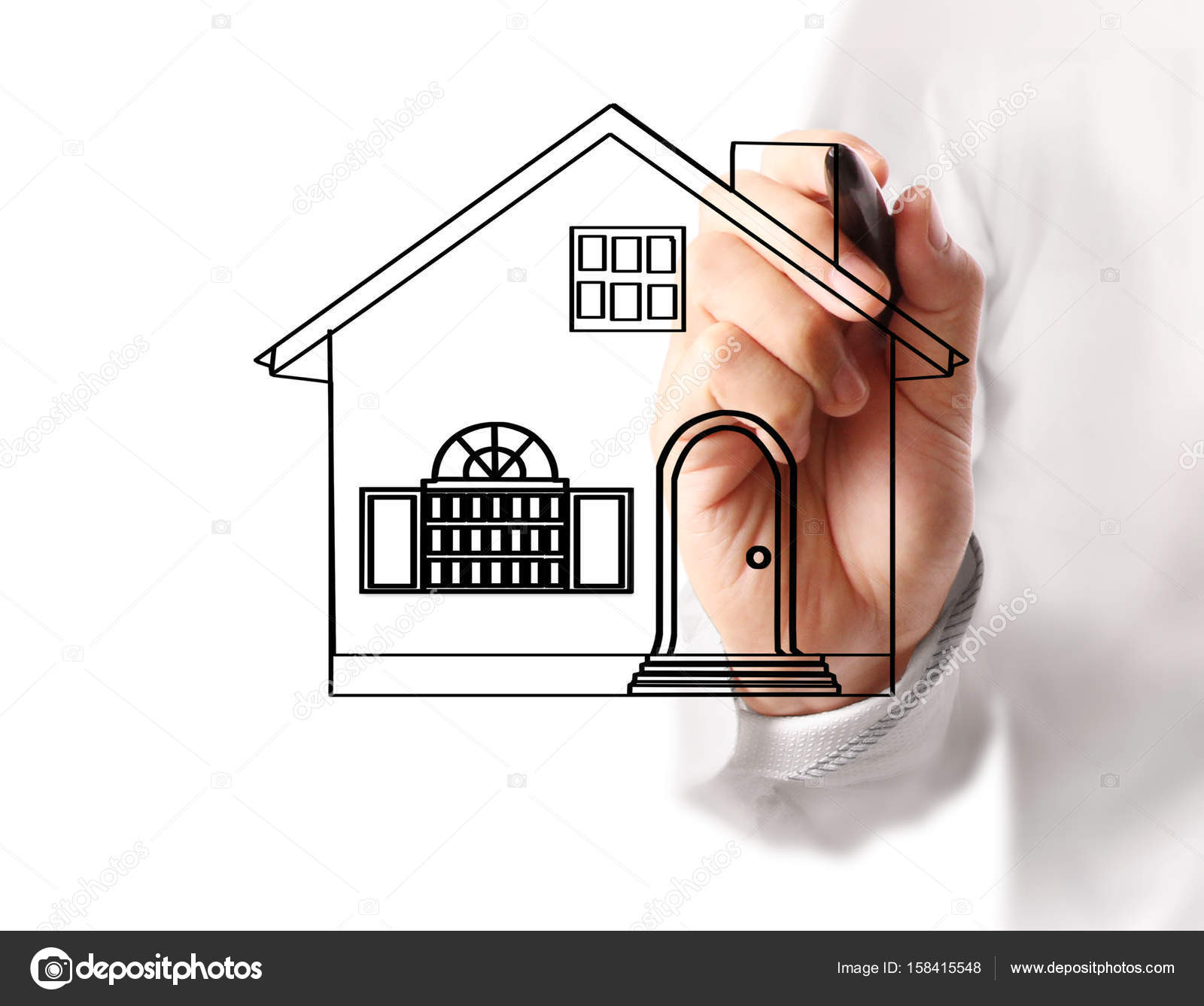 Hand drawing house model stock photo aeydenphumi 158415548 hand drawing house model stock photo ccuart Gallery