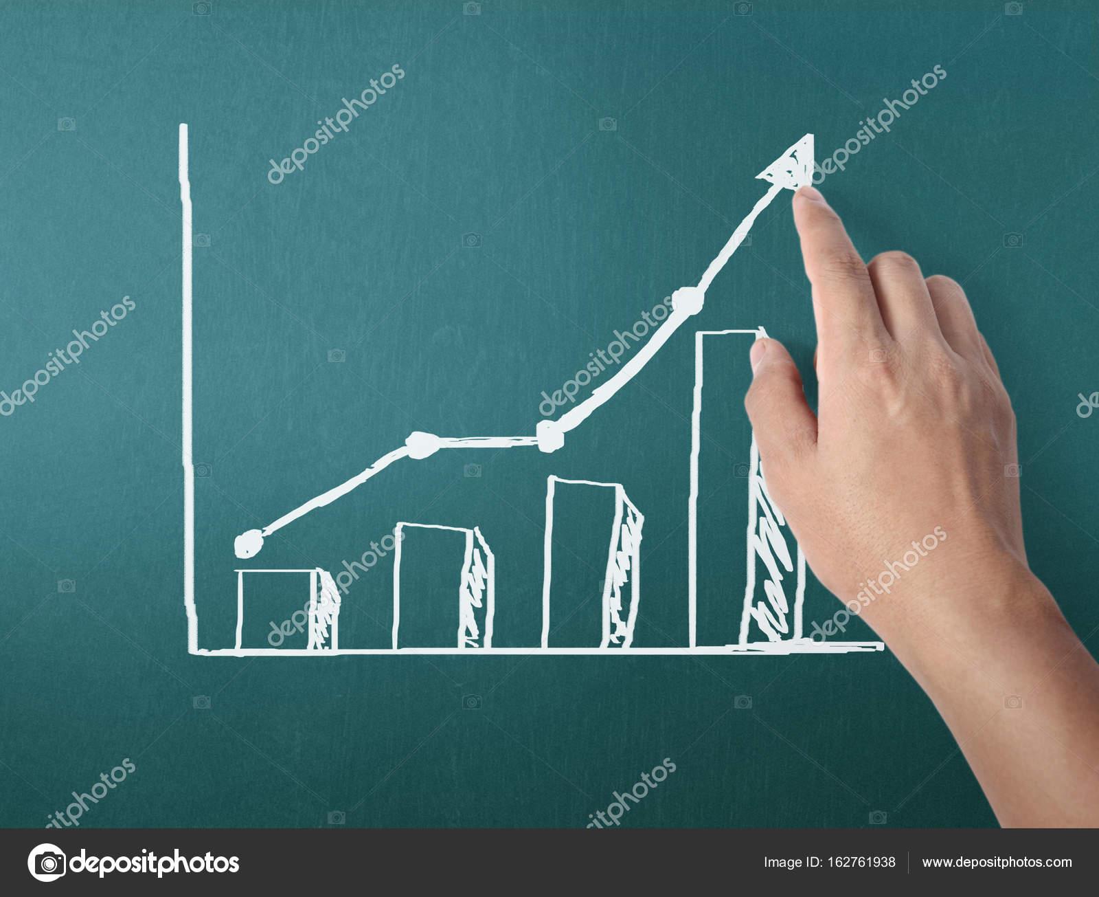 Kresleni Grafu Vysledky Bilou Kridou Tabuli Stock Fotografie