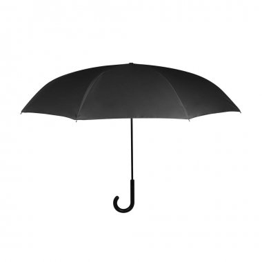 Black Opened J-Hook Long Umbrella Isolated on White Background. Design Template for Mock-up, Branding, Advertise etc. Front View