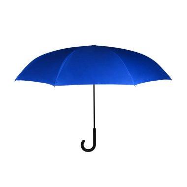 Phantom Blue Opened J-Hook Long Umbrella Isolated on White Background. Design Template for Mock-up, Branding, Advertise etc. Front View